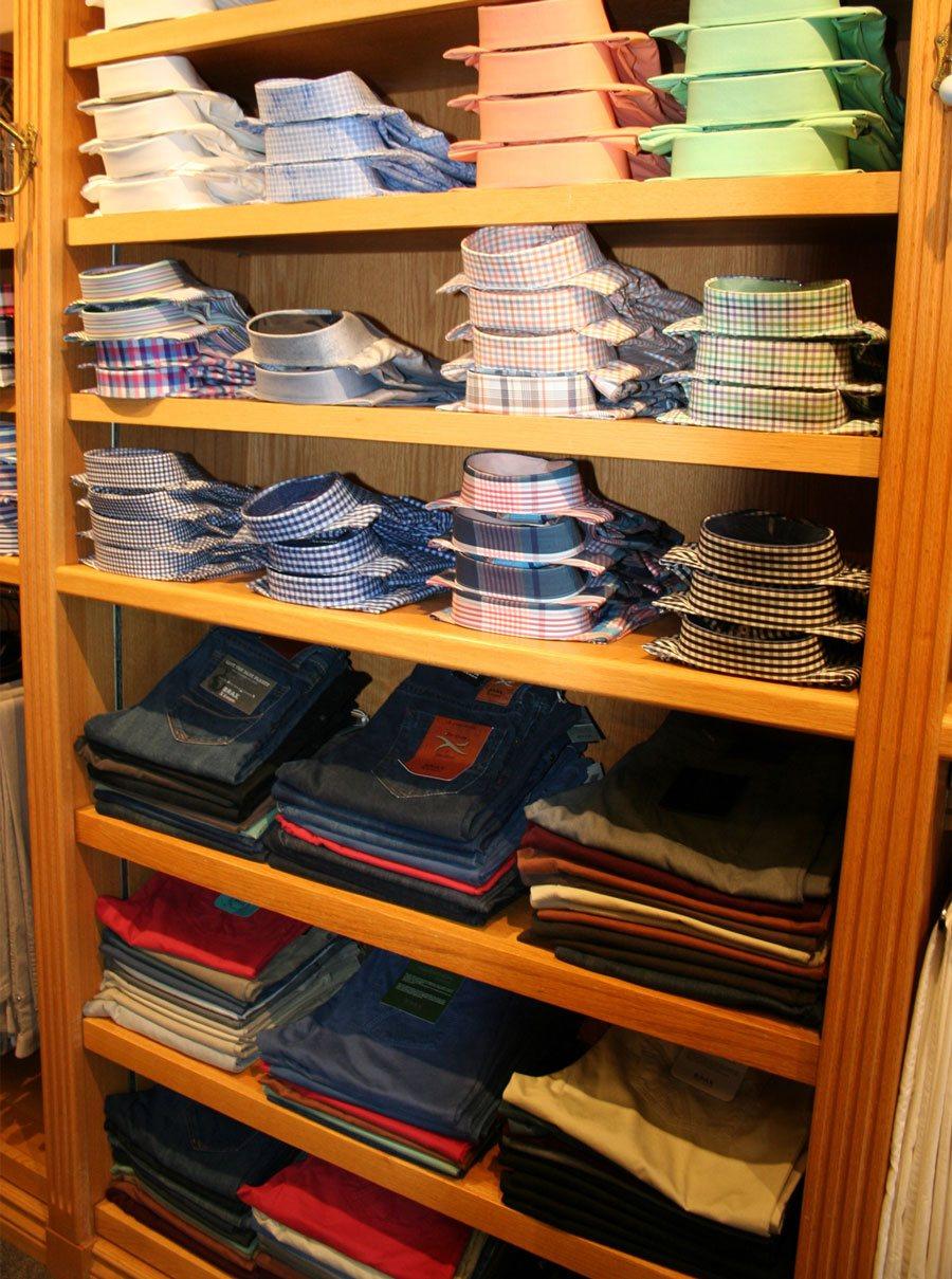 shelf of shirts